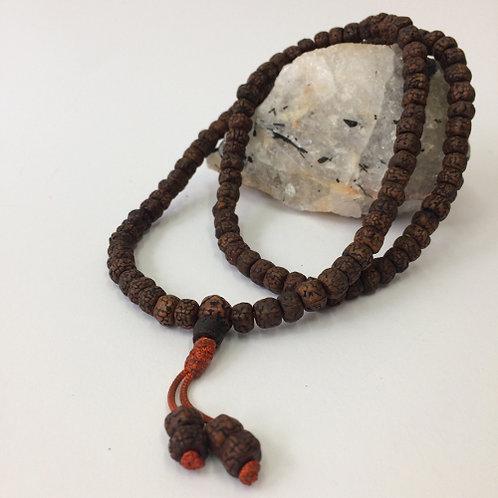 Mala van Rudraksha zaden 72cm gebedsketting 108 kralen