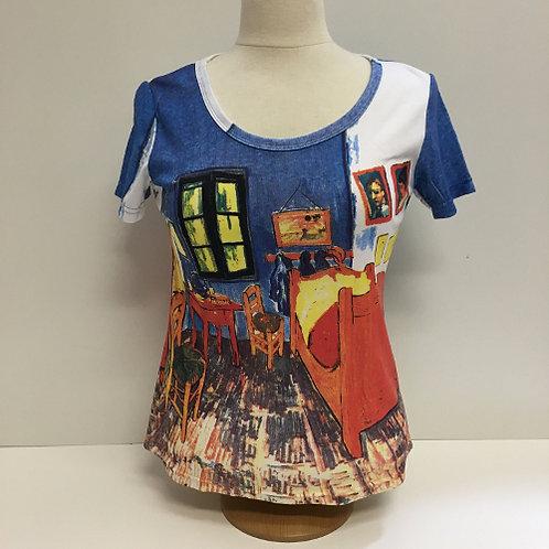 """T-Shirt Korte mouw """"De Slaapkamer"""" van Gogh blauw  rood"""