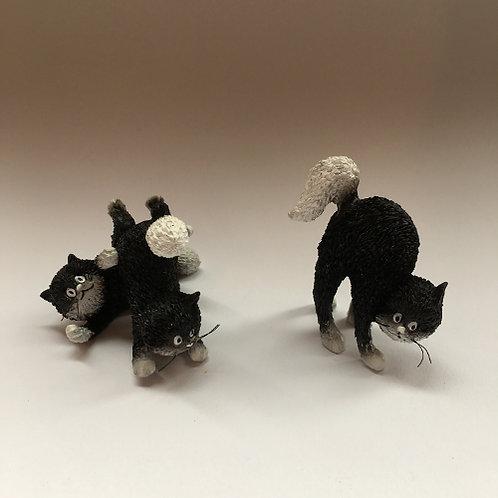 """De katten van Dubout  """"Happy days kittens"""" zwart wit"""