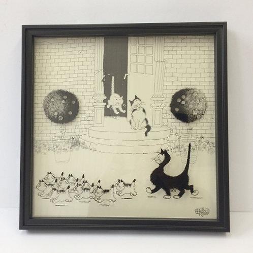 """De katten van Dubout  """"Proud Mama"""" schilderij"""