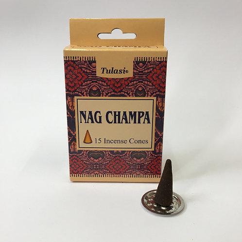 Kegeltjes wierook Nag Champa  .  Ongeveer 40 gram inclusief wierookbrander tulasi