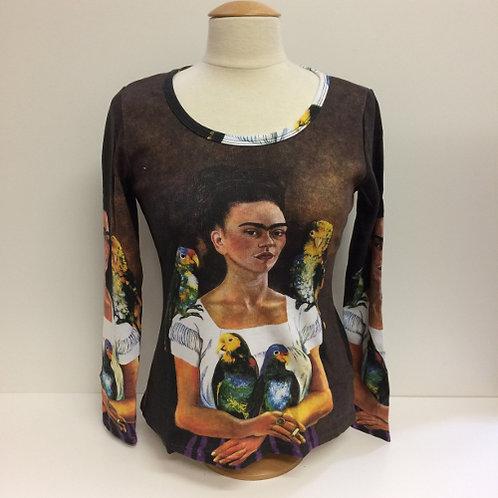 """T-Shirt Lange mouw """"Papegaaien """" Frida khalo"""