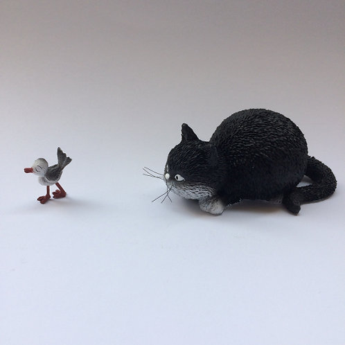 """De katten van Dubout  """"Got you! ik heb je zwart wit"""