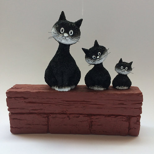 """De katten van Dubout  """"Enjoying the view genieten van het uitzicht zwart wit"""