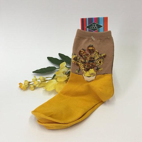 """Sokken """"De Zonnen bloemen"""" van Vincent van Gogh geel"""