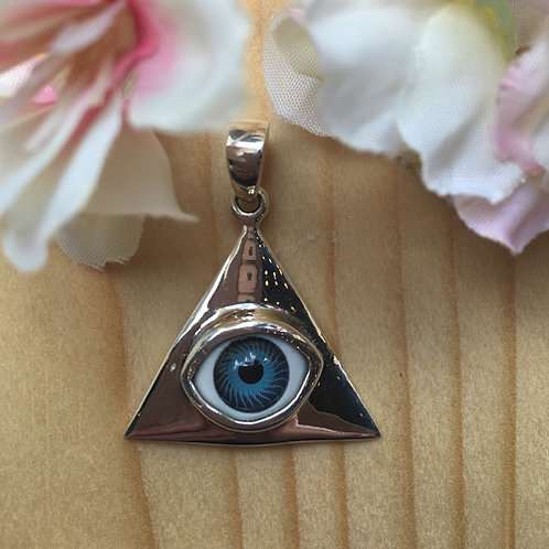 oog alziend het oog eye zilver blauw wit hanger