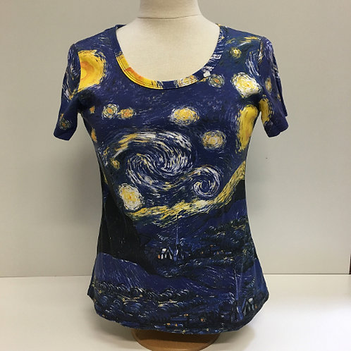 """T-Shirt Korte mouw """" Starry Night"""" sterrennacht blauw"""