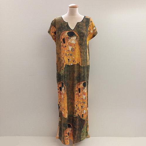 """Kaftan met """"De Kus"""" van Gustav Klimt geel man vrouw"""