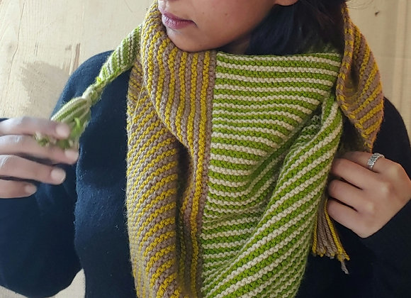 Forest - Hand-knitted Striped Scarf