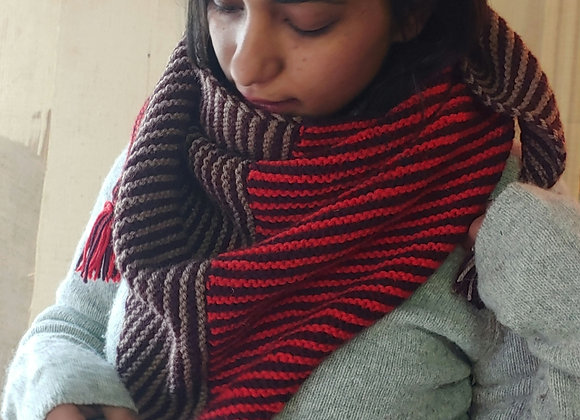 Autumn - Hand-knitted Striped Scarf