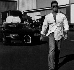 simon cowell photo shoot with his Bugetti for Interview magazine