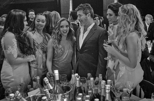 Simon Cowell with Little Mix at the Brits