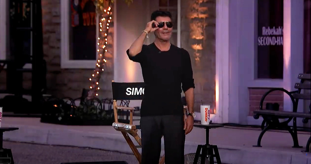 Simon Cowell first look at the AGT drive in movie set