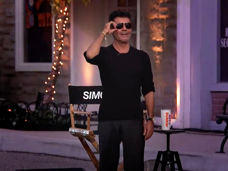 Simon Cowell arrives at AGT 'Judges Cuts' to a Drive-In movie set