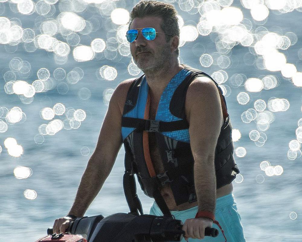 Simon Cowell on a jet-ski in Barbados