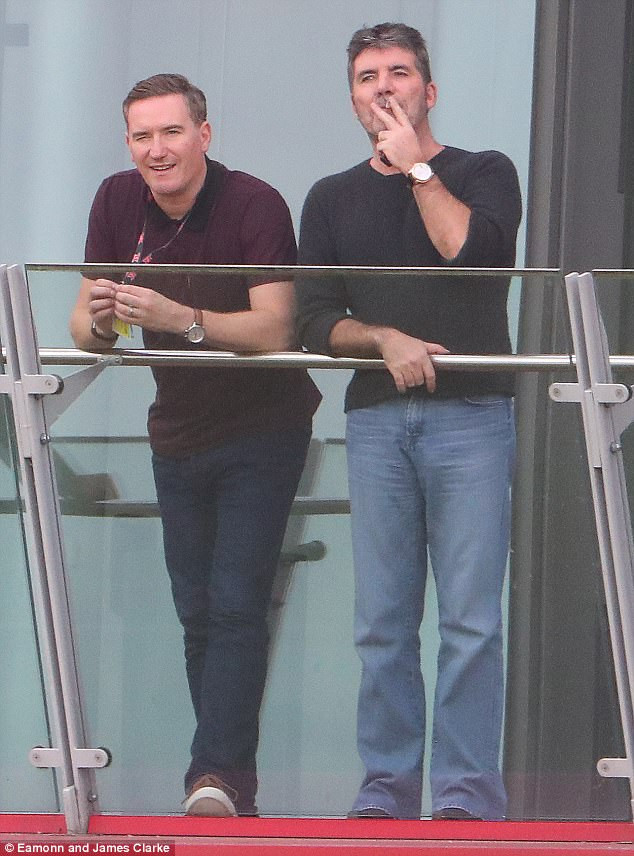 Simon Cowell with Mark Sidaway X Factor producer