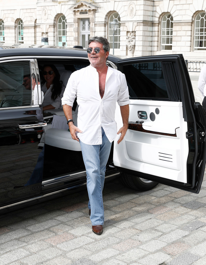 Simon Cowell arriving at the X Factor press call