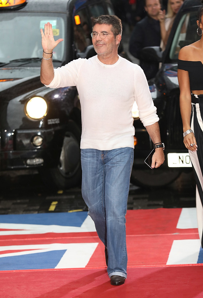 Simon Cowell waves to the crowd at Britain's Got Talent