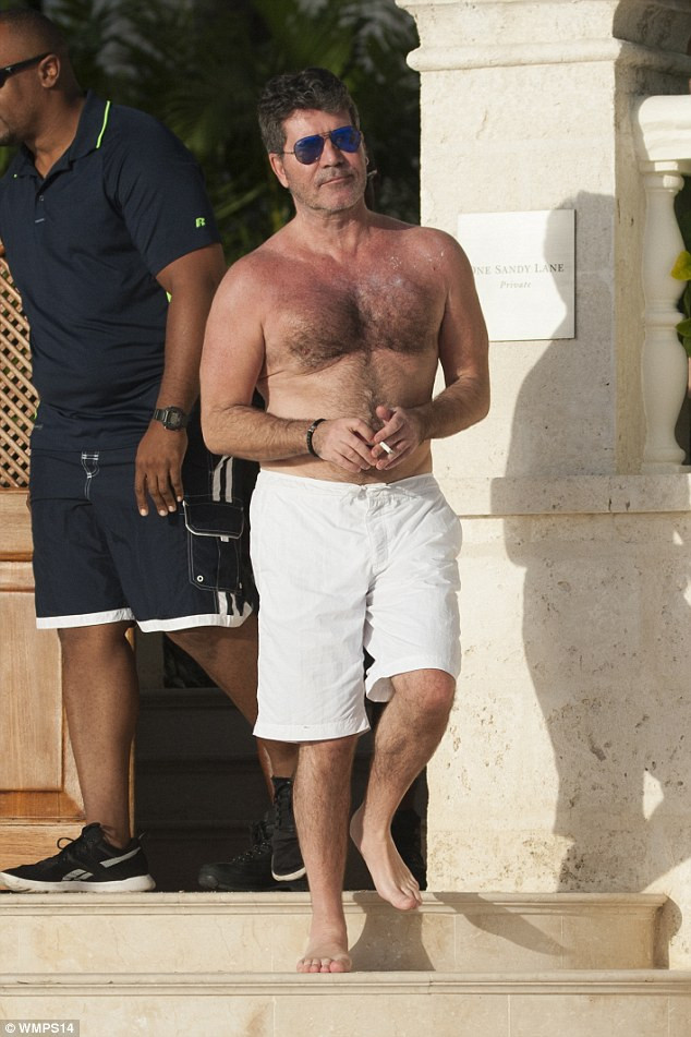 Simon Cowell in Barbados on vacation