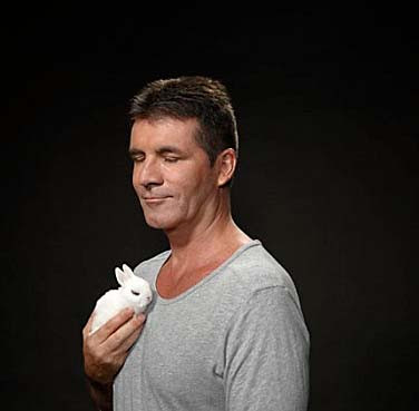 Simon Cowell with a bunny