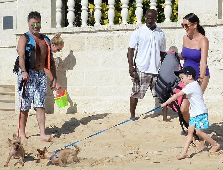 Simon Cowell with Lauren, Eric & Squiddly & Diddly in Barbados