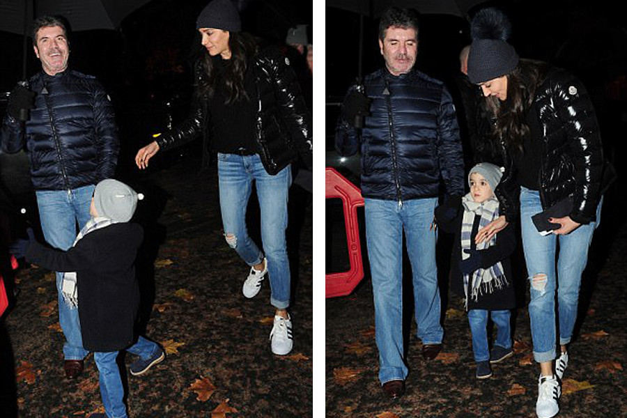 Simon Cowell with girlfriend Lauren Silverman and son Eric at Winter Wonderland in Hyde Park London