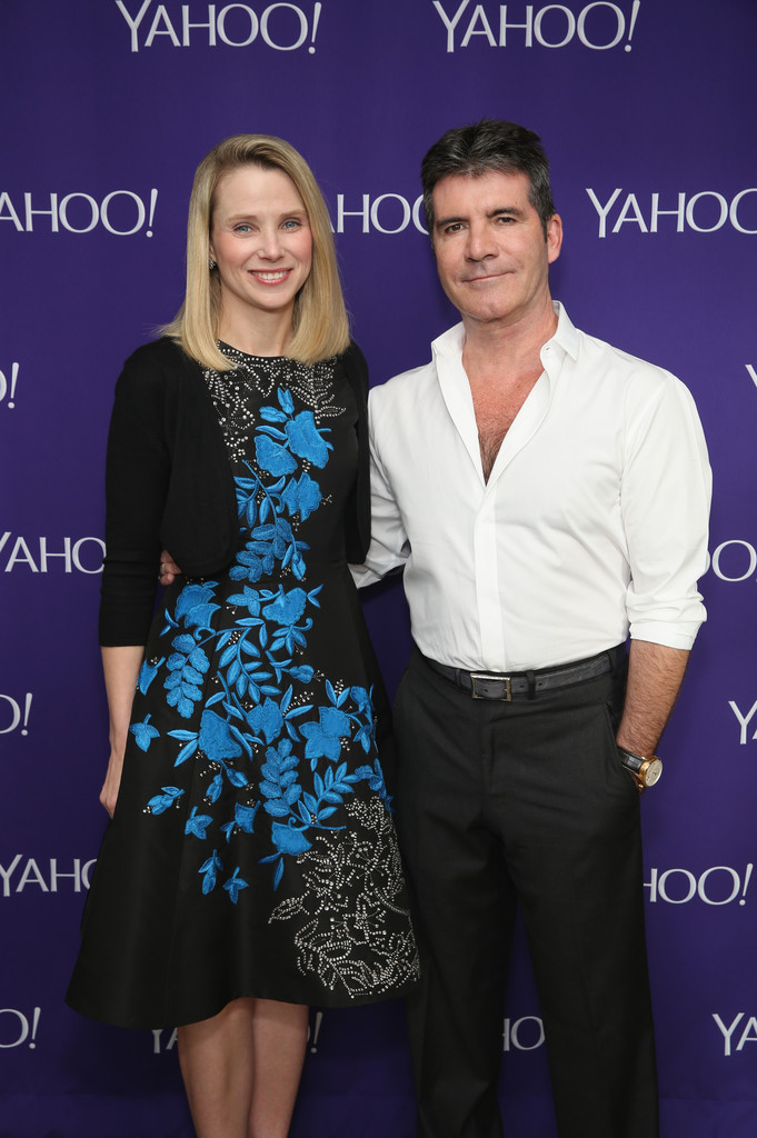 Simon Cowell with Marissa Mayer CEO of Yahoo