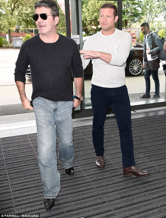 Simon Cowell and Dermot O'Leary at X Factor Manchester
