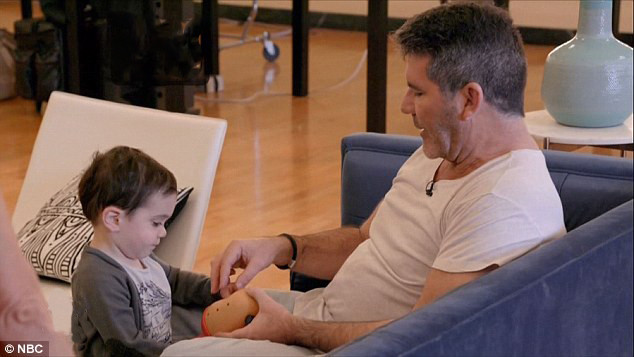 Simon Cowell with son Eric backstage at America's Got Talent