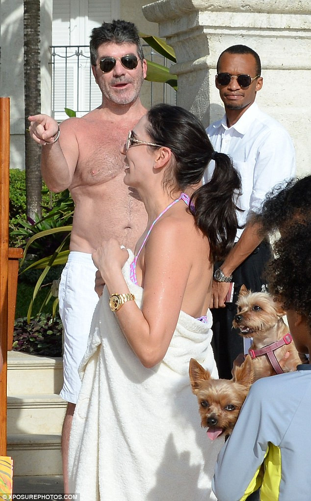 Simon Cowell in Barbados with Squiddly & Diddly