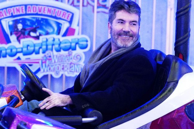 Simon Cowell at Winter Wonderland in a bumper car