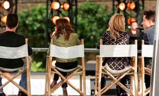 Simon Cowell, Cheryl Fernandez-Versini, Rita Ora, Nick Grimshaw at X Factor bootcamp