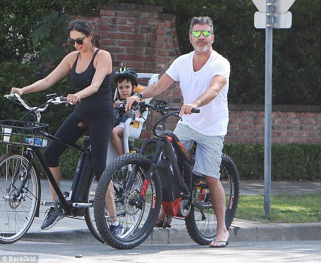 Simon Cowell on a push bike in Beverly Hills