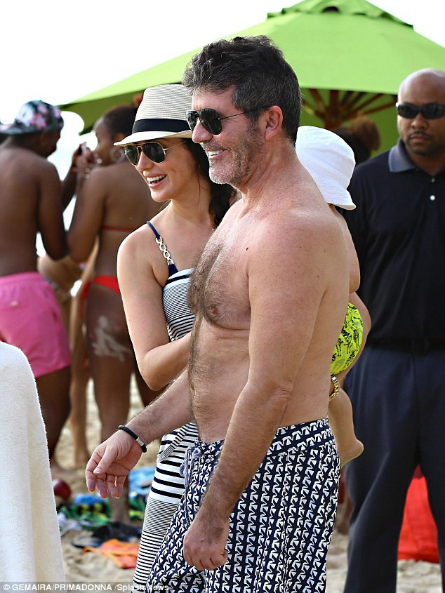 Simon Cowell and Lauren Silverman in Barbados 2015