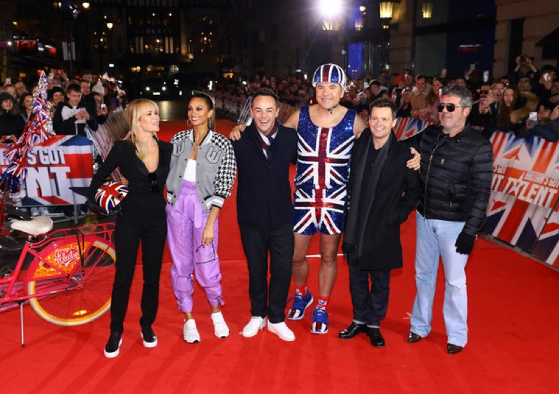 Amanda Holden, Alesha Dixon, Ant McPartlin, David Walliams, Declan Donnelly and Simon Cowell on the red carpet for day three of the Britain's Got Talent auditions at the London Palladium.