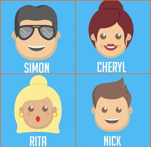 Emoji X Factor - Simon Cowell, Cheryl Fernandez-Versini, Rita Ora, Nick Grimshaw