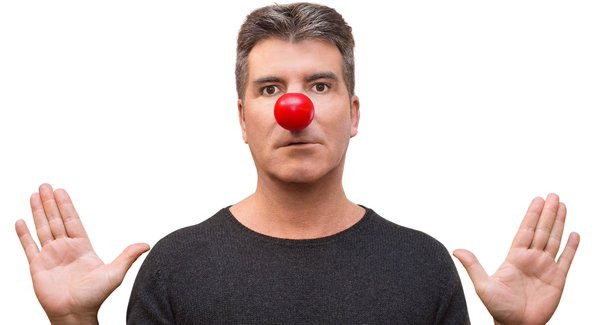 Simon Cowell wears a red nose for Comic Relief