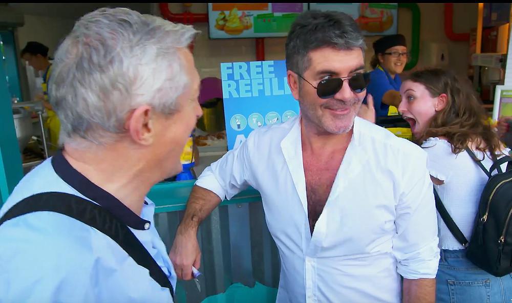 Simon Cowell buys ice-cream at Thorpe Park