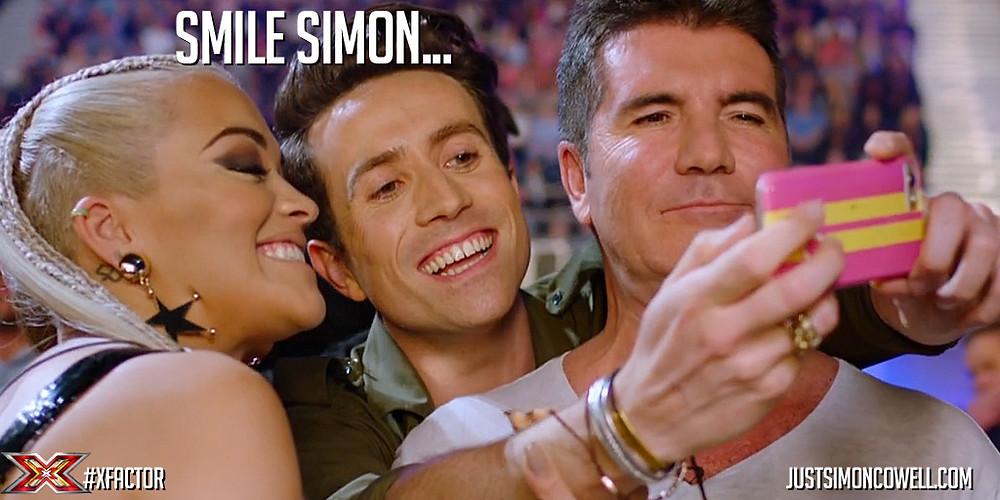 Simon Cowell, Rita Ora, Nick Grimshaw taking a selfie