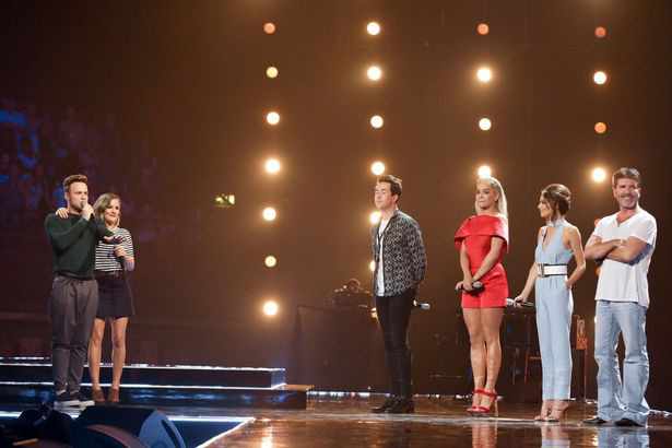 Simon Cowell, Rita Ora, Nick Grimshaw, Cheryl, Olly Murs and Caroline Flack at the X Factor Six Chair Challenge