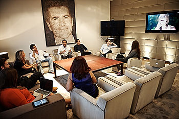 simon cowell in a meeting at Syco offices