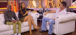 Simon Cowell talks to Melvin Odoom and Rochelle Humes
