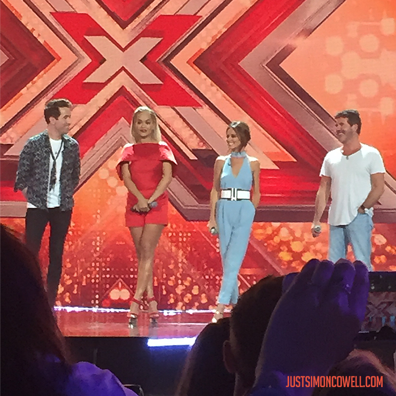 Simon Cowell, Cheryl Fernandez-Versini, Rita Ora, Nick Grimshaw at the X Factor Six Chair Challenge
