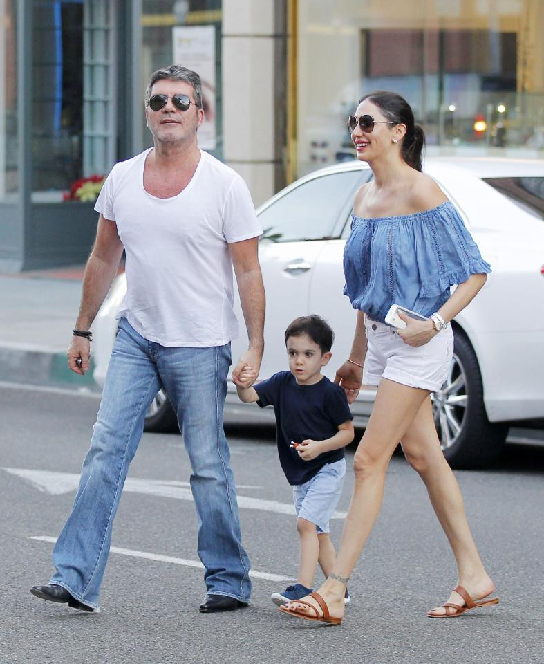 Simon Cowell with Lauren Silverman and son Eric in Beverly Hills