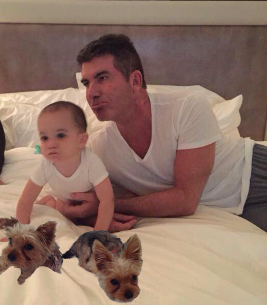 Simon Cowell and his son Eric with Squiddly & Diddly