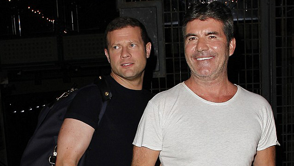 Simon Cowell and Dermot O'Leary leaving X Factor auditions in London