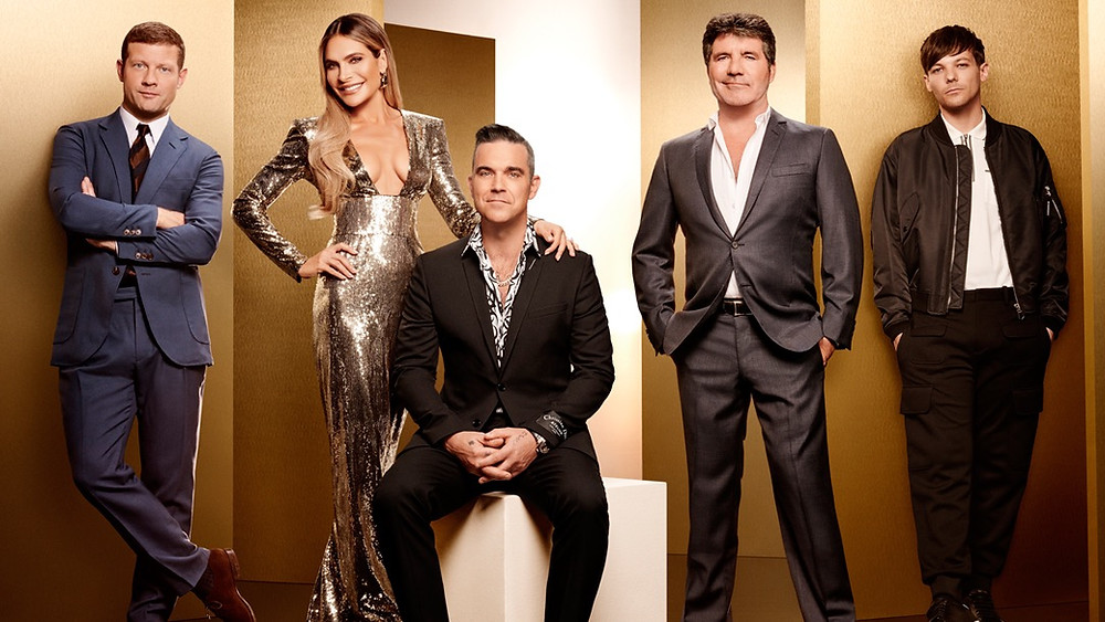 The X Factor Judges 2018 - Simon Cowell, Robbie Williams, Ayda field-Williams, Louis Tomlinson and host Dermot O'Leary