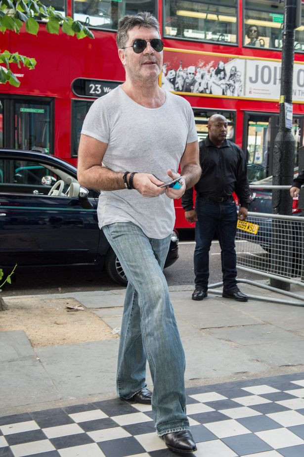 simon Cowell at the recording studios for Grenfell charity record
