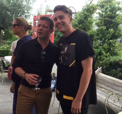 Dermot O'Leary with Roman Kemp at the X Factor Launch party