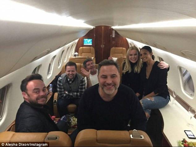Simon Cowell, Amanda Holden, Alesha Dixon and David Walliams in a private plane